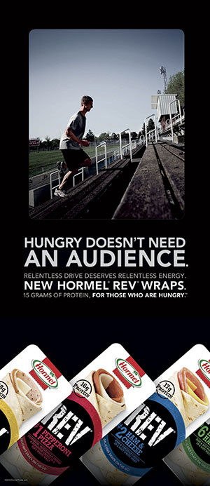 Austin graduate Alex Laury is seen running up the bleachers at Art Hass Stadium in this ad for Hormel's Rev wraps. Photo provided