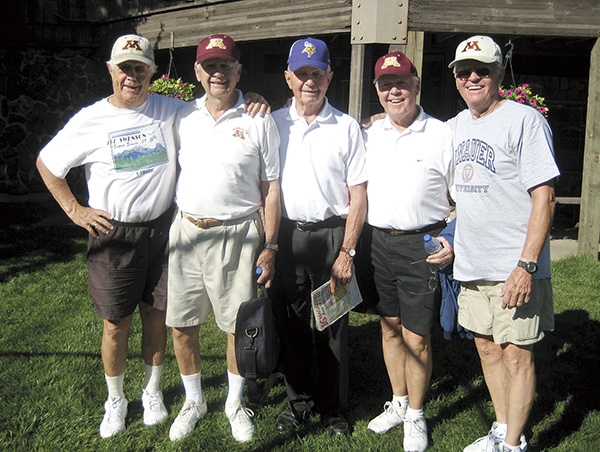 The Knauer brothers gather during their 2012 reunion in Nisswa, Minn. From left: Tom, Don, Gene, Bill and Jack. They will return to Austin for Pacelli Catholic Schools' 100th anniversary celebration on Aug. 24-25. -- Photo provided