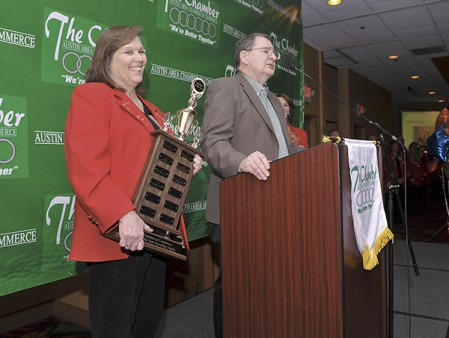 Norm and Marlene Blaser accepted the Business of Year award during the annual Austin Area Chamber Commerce banquet in 2012 at the Holiday Inn. Herald file photo