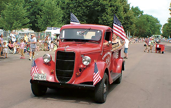 A float drives in a previous Blooming Prairie Fourth of July parade. -- Photo provided