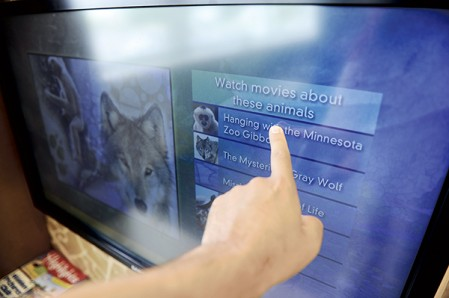 The new animals kiosk in the Karl R. Potach Pediatric Clinic at the Mayo Clinic Health System in Austin features a touch screen, allowing children easy access to videos of various animals. Eric Johnson/photodesk@austindailyherald.com
