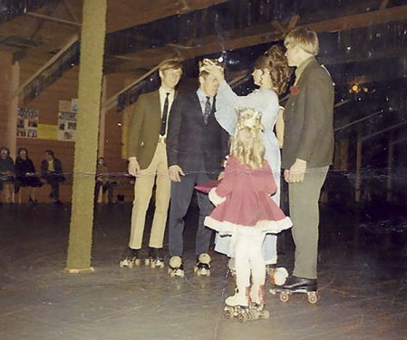 A boy gets crowned king at the king and queen roller-skaters contest. The event was held every year and contestants were judged on skating, personality and other aspects. Photo provided.