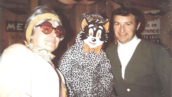 Delmer Staples, right, stands with two friends during a costume party at the roller rink. Delmer owned the rink from 1970 to 1976. Photo provided