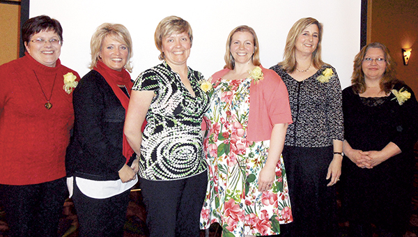 Gina Grundmeier (left) from T 'N G Plumbing, Peggy Young from Riverland Community College, Jana Gray from Austin Daily Herald, Rachel Knudson from Gentle Hands Midwifery, Kristin Olson, Community Concierge from the Chamber of Commerce and Lori Espe from the Salvation Army were the 2015 Woman of the Year candidates at the Zonta Club Woman of Achievement Banquet. -- Photos provided