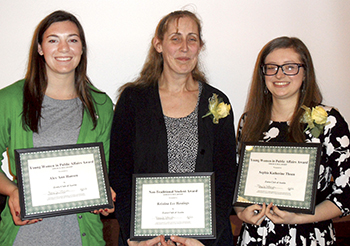 Alex Hansen (left), Kristina Hastings and Sophia Thoen were the 2015 scholarship recipients at the Zonta Club Woman of Achievement Banquet.