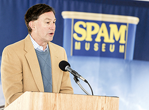 Hormel CEO Jeff Ettinger speaks about the Spam Museum's move downtown during a groundbreaking Tuesday morning.