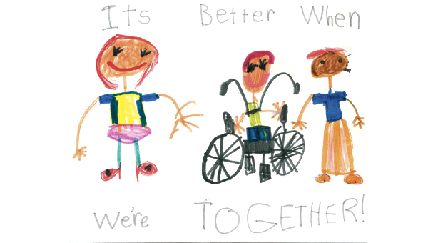 Posters from the Inclusive Schools Week poster contest. First-grade winner was Aubrey Ruzek, Southgate Elementary