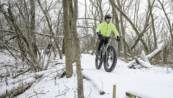 Jens Raffelson of Rydjor Bike rides the new mountain biking trail created for the Austin Mountain Biking Team, on a Fatbike. -- Photos by Eric Johnson/Austin Living
