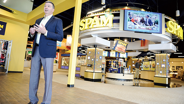 Hormel Food Corps. President James Snee talks in front Can Central at the new Spam Museum Thursday afternoon. Eric Johnson/photodesk@austindailyherald.com
