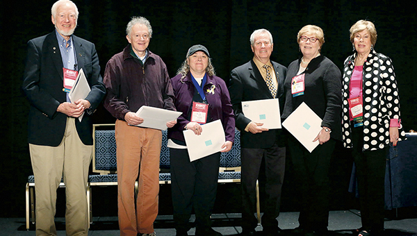 Sue Grove, second from the right, was named Advisor Emeriti by the Phi Theta Kappa Foundation recently. Photo provided