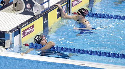 Lindsey Horejsi looks up to see her finishing time following the women's 200-meter breaststroke preliminaries Thursday during the U.S. Olympic Trials at CenturyLink Center in Omaha, Nebraska.