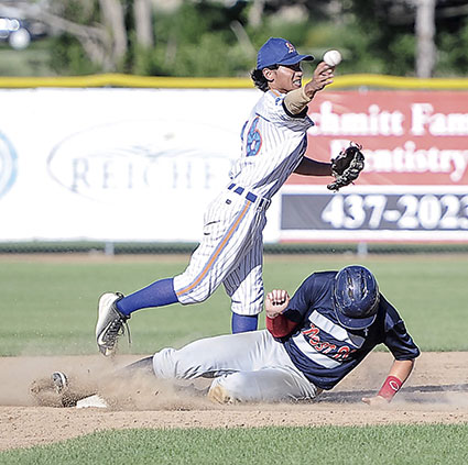 Austin Post 91's Jason Stoulil tries to break up a double play.