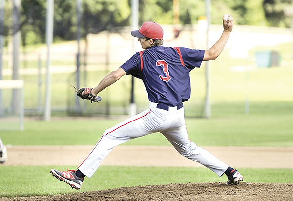 Austin VFW pitcher Riley Wempner delivers against the Rochester Rockets Saturday morning at Marcusen Park. Eric Johnson/photodesk@austindailyherald.com