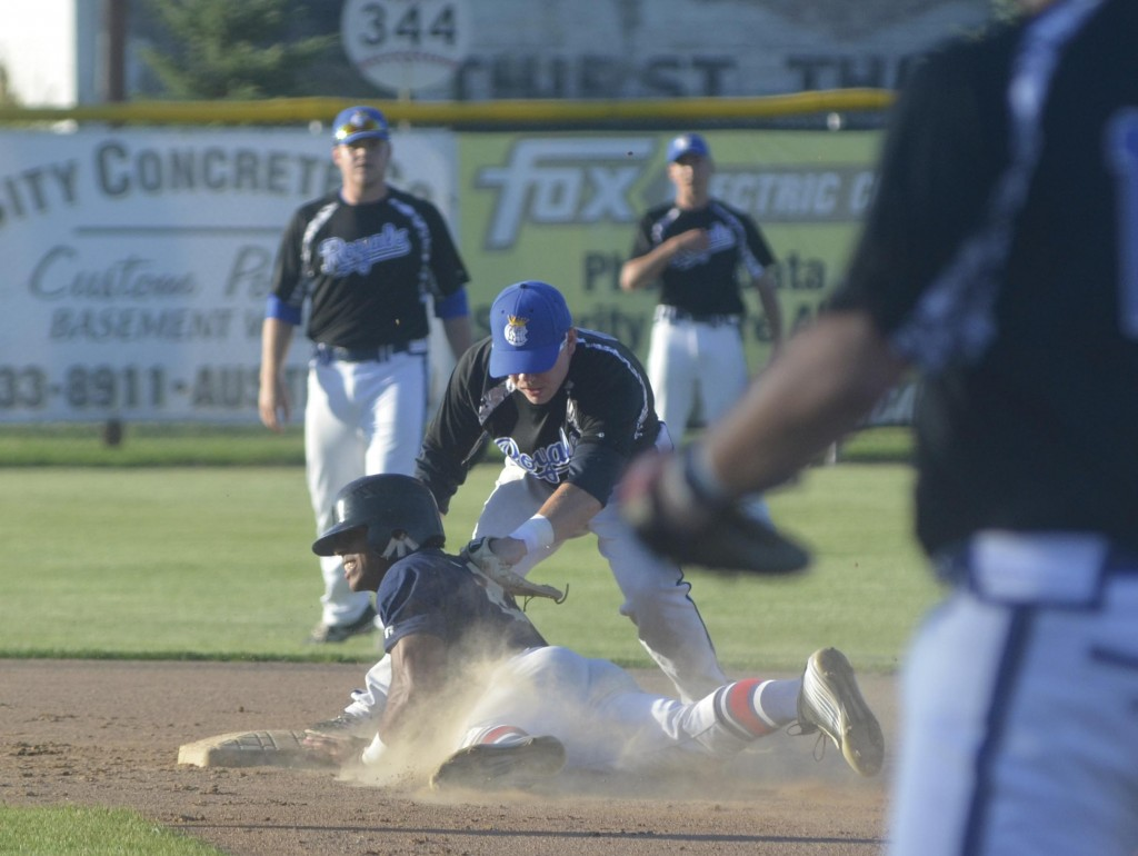 Ricky Marinez slides into second base on a double for the Austin Blue Sox against the Rochester Royals in Marcusen Park Friday. Rocky Hulne/sports@austindailyherald.com