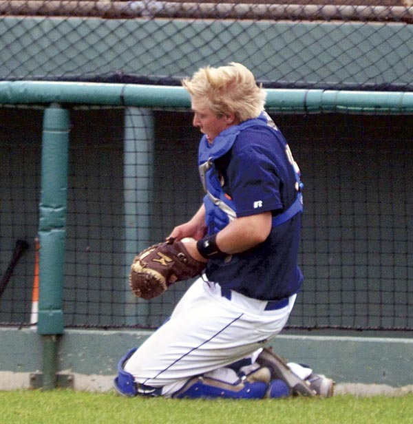 Lee Bauer makes a catch for the Austin Blue Sox in Marcusen Park Thursday. Rocky Hulne/sports@austindailyherald.com