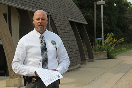 Freeborn County Sheriff Kurt Freitag said the suspect arrested in the death of another man on Tuesday night reportedly called 911 to report the shooting at Myre-Big Island State Park. The suspect met authorities at the ranger station at the park, approximately 1.7 miles from where the shooting occurred on Big Island. — Sarah Stultz/Albert Lea Tribune
