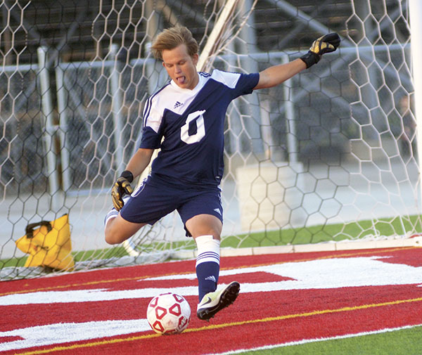 Austin keeper Chris Kirchgatter winds up for a goal kick against Plainview-Elgin-Millville in Art Hass Stadium Monday. Rocky Hulne/sports@austindailyherald.com