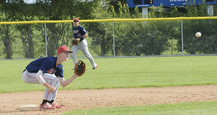Austin Post 1216 shortstop Jack Dankert waits for a throw from catcher Hunter Guyette in the team's opening round game against Luverne Thursday at the VFW state tournament in Fergus Falls. Zach Stich/Fergus Falls Daily Journal
