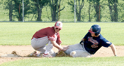 Josi Bothun is tagged out at second base against Luveren in the state VFW baseball tournament in Fergus Falls Thursday. Zach Stich/Fergus Falls Daily Journal