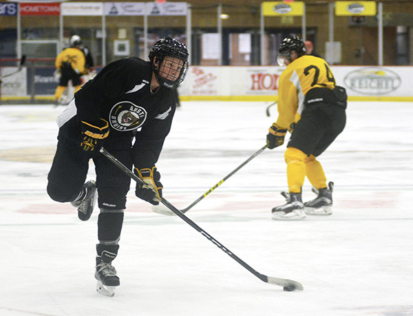 Travis Kothenbeutel controls the puck for the Austin Bruins in Riverside Arena Tuesday. The Bruins began their season last week. Rocky Hulne/sports@austindailyherald.com