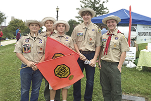 Blain Krueger, from left, Cam Krueger Sam Hagan Jacob Langstaff and Noah Zimmerman. The members of Boy Scout Troup 113 provided cross guard service during the Harvest Fest last Saturday. Photo provided