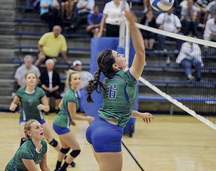 Lucy Nelson hits for the Lyle-Pacelli volleyball team earlier this season in Lyle.  Herald File Photo