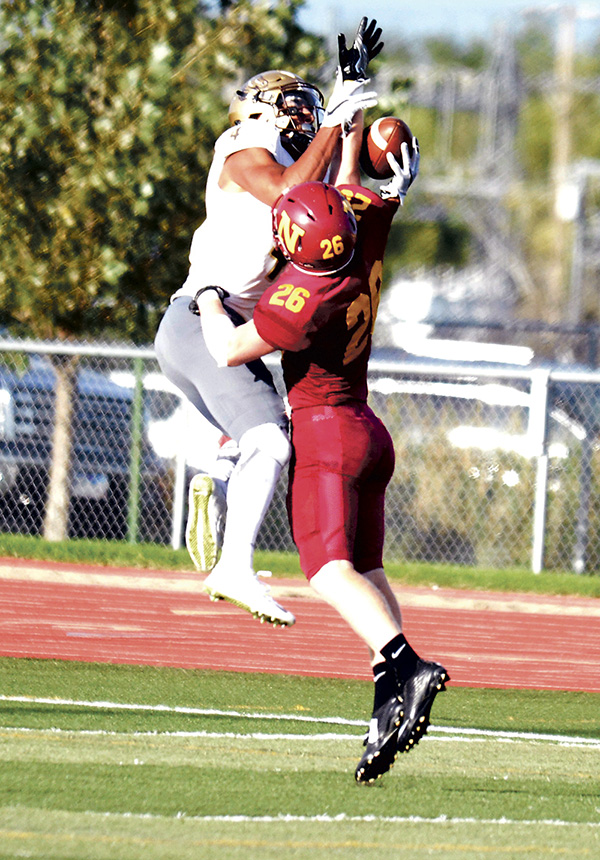 Austin grad Conner Sheehan breaks up a pass for Northern State University against Southwest Minnesota State University this season. Photo by Kory Burdick/Northern State Univeristy