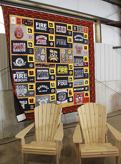 Brians mom, Jeralene Staska, made a quilt and his brother made two wooden chairs for the auction.