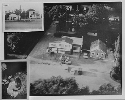 This collage shows just a few of the photos and new clippings hanging around Nicol's Fast Lube in Austin. The main photo shows the family's former shop in Nicolville, while the picture in the lower left shows Bill Nicol, now 71, at around age 10 working at the family shop.