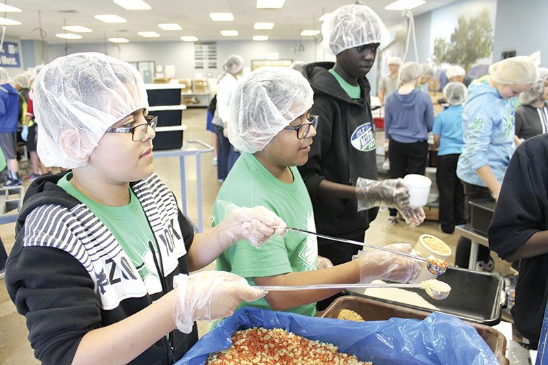Pacelli students took part in Feed My Starving Children. Photos provided