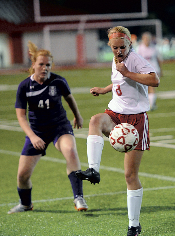 Austin's Chloe Sheehan controls the ball against Red Wing in Art Hass Stadium Monday. Rocky Hulne/sports@austindailyherald.com
