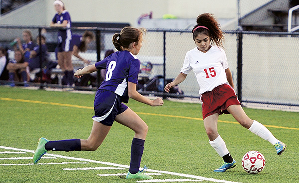 Austin's Monica Vargas controls the ball for the Packers in Art Hass Stadium Monday. Rocky Hulne/sports@austindailyherald.com