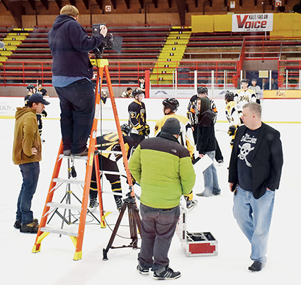"The scene on the ice while filming ""Ahockalypse"" at Riverside Arena. The hockey-zombie movie is using the talents of the Austin Bruins — and a lot of actors — in the film."